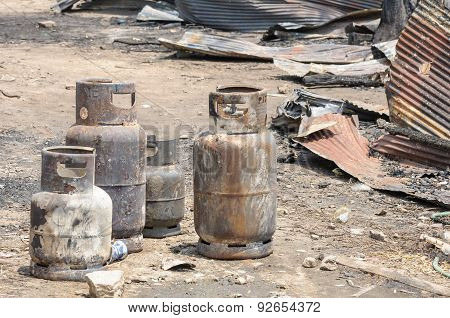 Burnt Lpg Gas Cylinders.