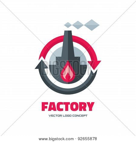 Factory - vector logo concept illustration in flat style for business company.
