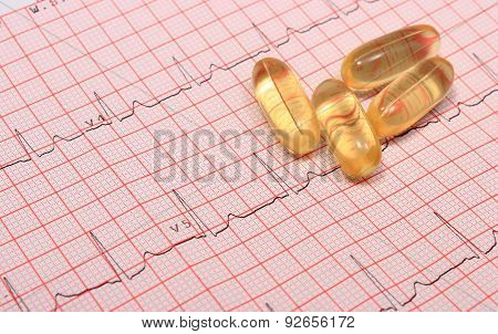 Electrocardiogram Graph Report And Tablets