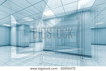 Office Room Interior Background With Wire-frame Lines