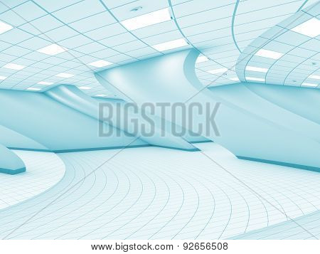 Abstract Surreal Bent Empty Blue Interior, 3D
