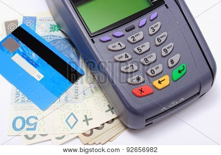Payment Terminal With Credit Card And Money On White Background