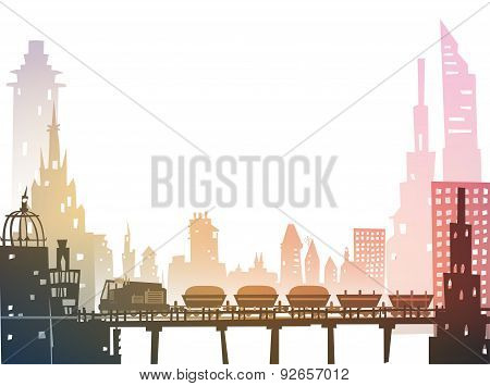 Train running through the city, industrial illustration