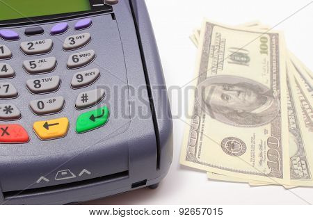 Payment Terminal With Money On White Background