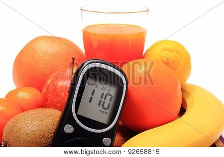Glucometer, Fresh Natural Fruits And Glass Of Juice