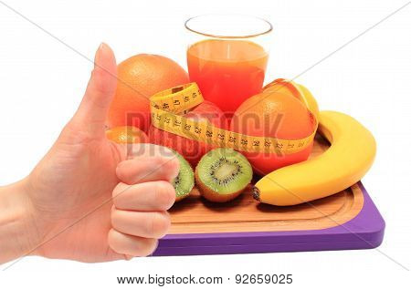 Thumbs Up And Healthy Ingredients With Tape Measure