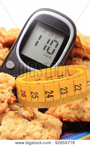 Glucometer, Oatmeal Cookies And Tape Measure