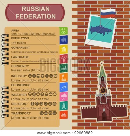 Russian Federation infographics, statistical data, sight