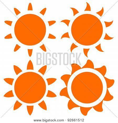 Set Of Vector Orange Sun