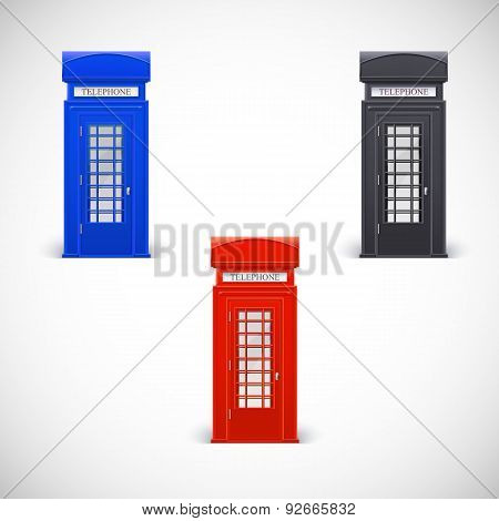 Colored telephone booths, Londone style.