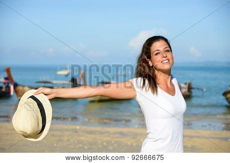 Blissful Woman Enjoying Thailand Travel At Beach