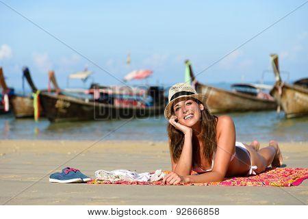Happy Woman Enjoying Thailand Beach Vacation In Krrabi