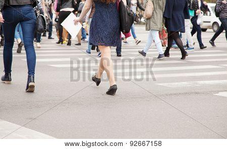 Pedestrians On A Pedestrian Crossing
