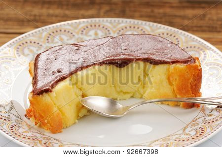 Homemade Oldfashioned Pie With Chololate Icing And Tea Spoon On White Plates