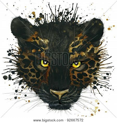 black panther T-shirt graphics, black panther illustration with splash watercolor textured backgroun