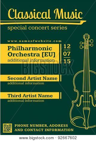 Classical Music Concert Violin Vertical Music Flyer Template.