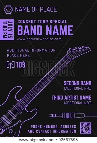 Rock Music Concert Electro Guitar Vertical Music Flyer Template .