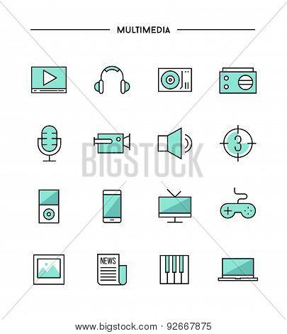 Set Of Thin Line Flat Multimedia Icons