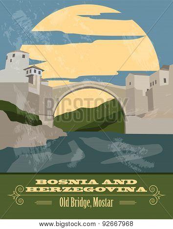 Bosnia and Herzegovina landmarks. Retro styled image