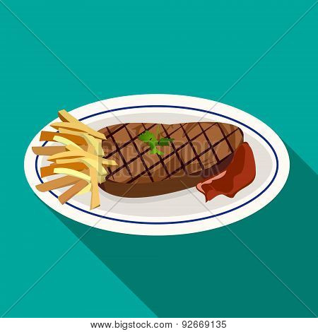 Grilled meat steak with french fries on dish