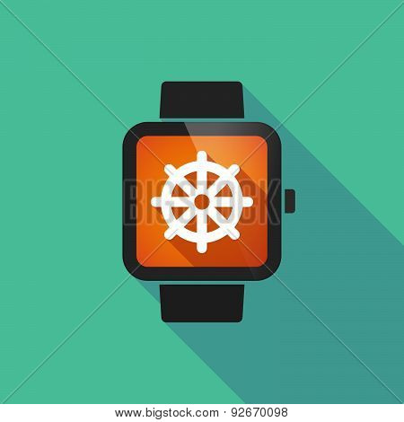 Smart Watch With A Dharma Chakra Sign