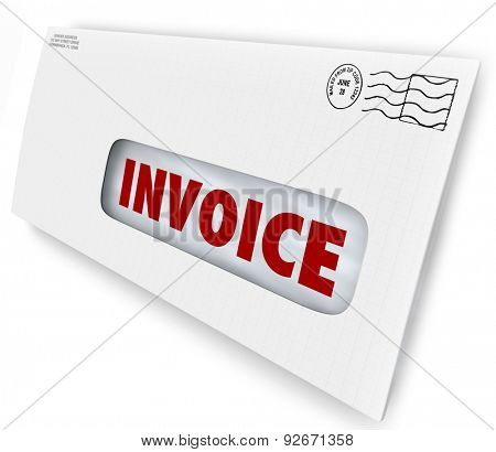Invoice word on a letter in envelope as a bill of payment due for services or payment on account