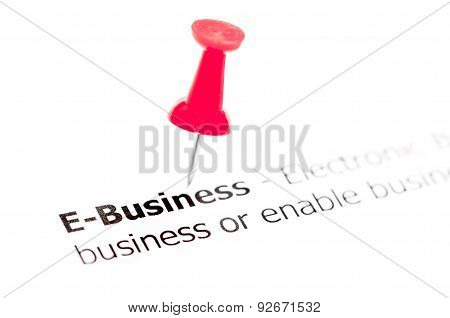 Word E-business Pinned On White Paper With Red Pushpin