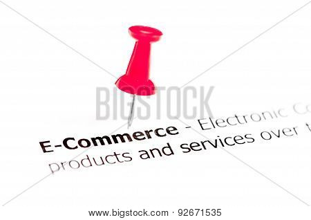 Word E-commerce Pinned On White Paper With Red Pushpin