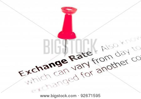Words Exchange Rate Pinned On White Paper With Red Pushpin
