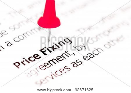 Words Price Fixing Pinned On White Paper With Red Pushpin