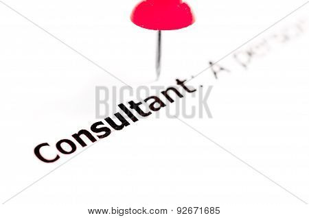 Word Consultant Pinned On White Paper With Red Pushpin