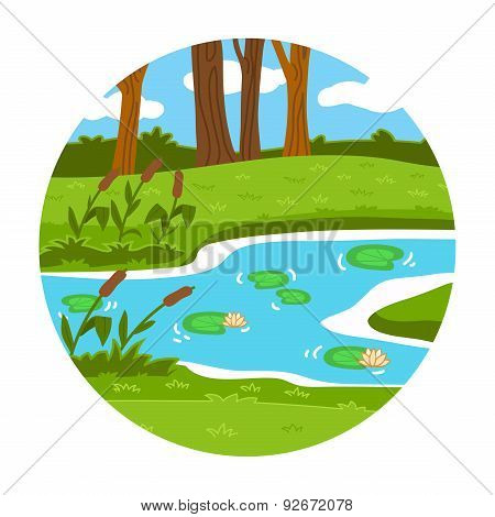 Circle Locations, Little Landscape (summer Pond In The Woods)
