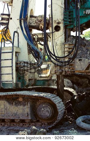 Boring Machine On A Building Site