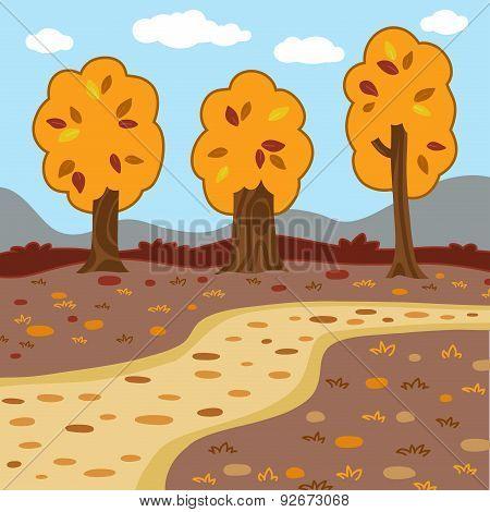 Vector Autumn Landscape, Woodland Scenery