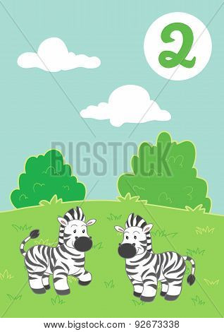 Two Cute Zebras: Easy Learn To Count