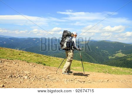 Summer hiking in the mountains.