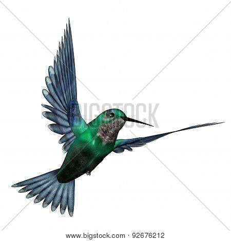 Emerald hummingbird - 3D render