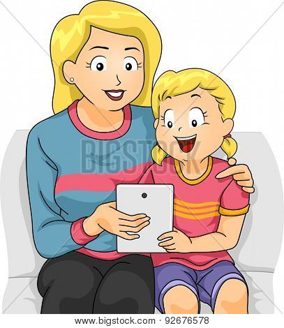 Illustration of a Mother Teaching Her Daughter How to Use a Tablet Computer
