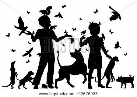 EPS8 editable vector silhouettes of a young boy and girl surrounded by animals with all figures as separate objects