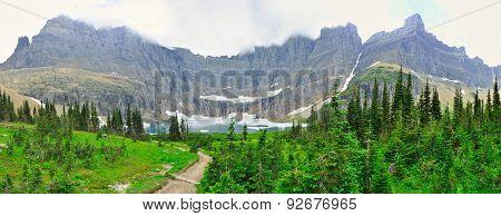 Panoramic View Of The Iceberg Lake Glacier In Glacier National Park
