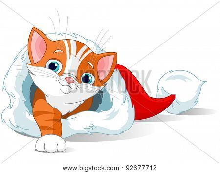 Illustration of cute red kitten getting out from Santa Hat