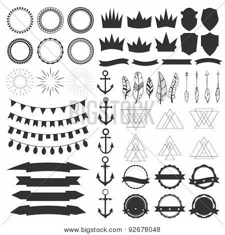 Collection Of Shields, Badges And Labels. Vector Design Elements. Vintage Hipster Labels, Ribbons, G