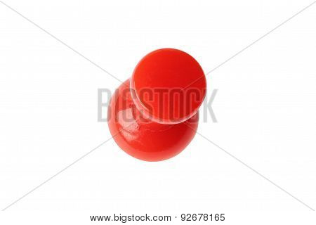 Isolated red drawing pin top view