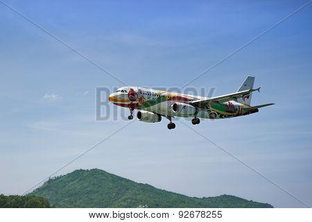 Landing Airbus A320-200 Of Bangkokairway. Thailand