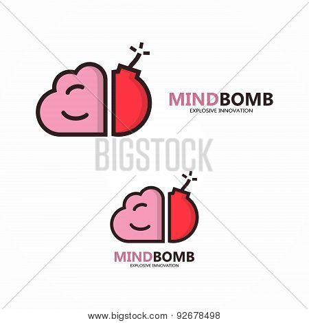Vector logo combination of brain and bomb