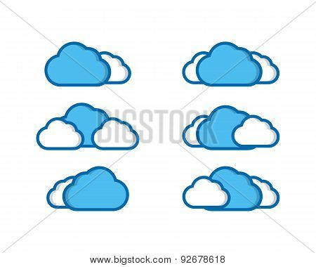 Vector illustration of clouds collection