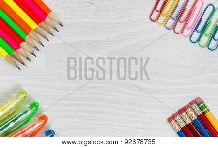 Colorful Office Supplies On White Desktop