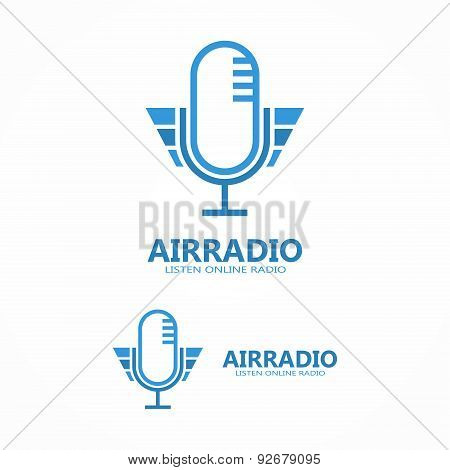 Vector microphone icon or logo