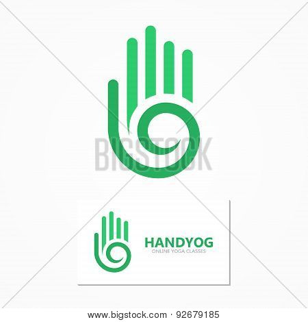 Vector logo or icon hand with a spiral