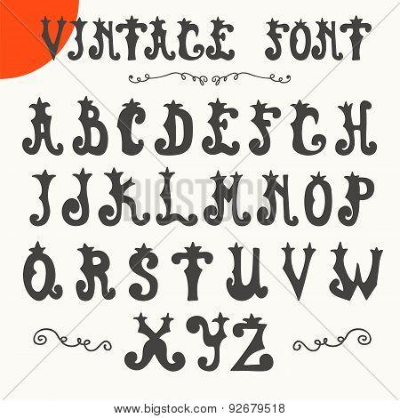 Hand Drawn Vintage Font. Vector Alphabet